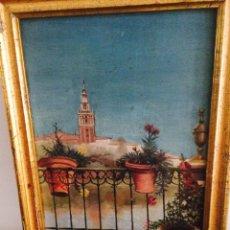Arte: OLEO DE SEVILLA: VISTA DE LA GIRALDA DESDE TRIANA (1901). Lote 49143113
