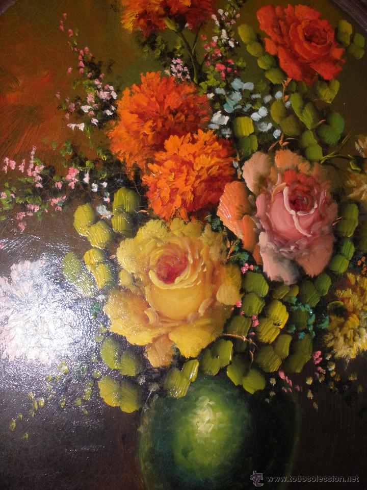 Arte: Bodegón de flores al óleo CON FIRMA - Foto 2 - 49151795