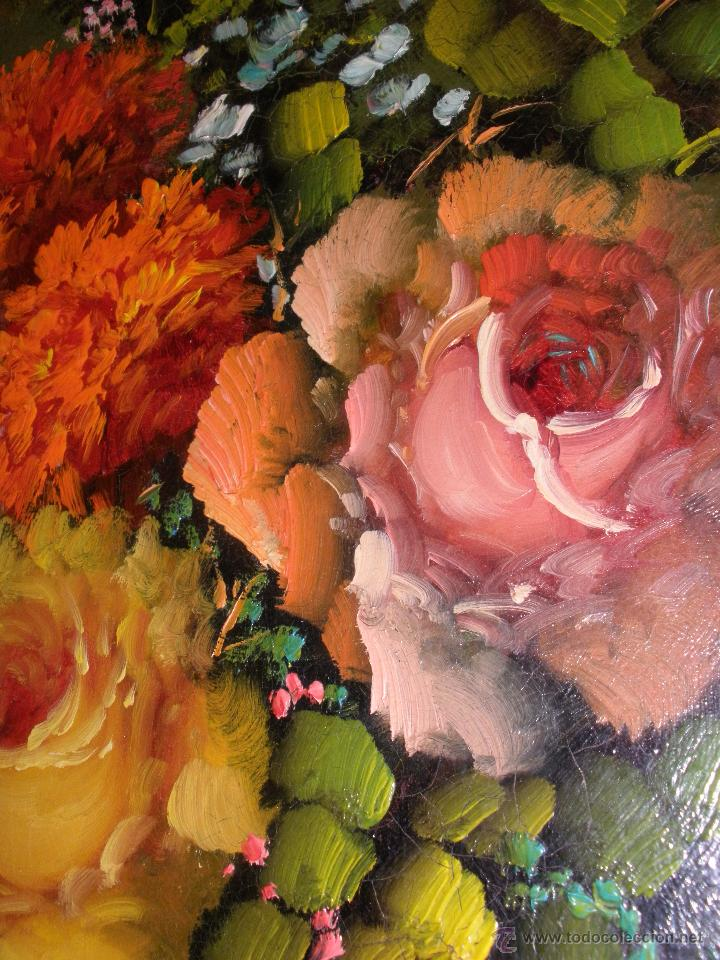 Arte: Bodegón de flores al óleo CON FIRMA - Foto 6 - 49151795