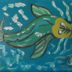 Arte: GRAFITI ,PEZ ,ÓLEO SOBRE TABLA DE 24X30 CM. DE CRESPO. Lote 49158148