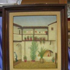 Arte: PINTURA NAIF OLE SOBRE LIENZO, REPRESENTA UN PATIO DE VECINOS ANDALUZ, ANONIMO, AÑOS 60-70. Lote 161936188