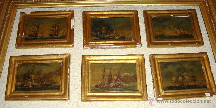 MAGNIFICAS 6 MARINAS EN MINIATURA ANTIGUAS. S.XIX. BATALLA NAVAL. OLEO SOBRE CAOBA. (Arte - Pintura - Pintura al Óleo Moderna siglo XIX)