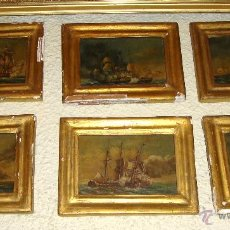 Arte: MAGNIFICAS 6 MARINAS EN MINIATURA ANTIGUAS. S.XIX. BATALLA NAVAL. OLEO SOBRE CAOBA.. Lote 49200704