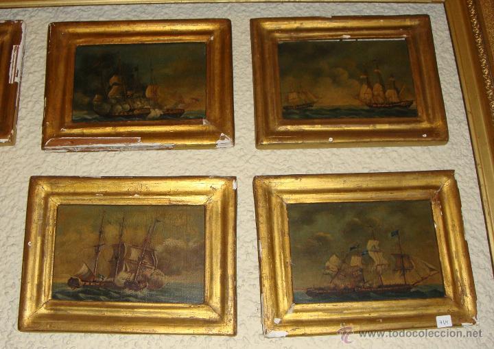 Arte: Magnificas 6 Marinas en Miniatura Antiguas. S.XIX. Batalla Naval. Oleo sobre caoba. - Foto 2 - 49200704