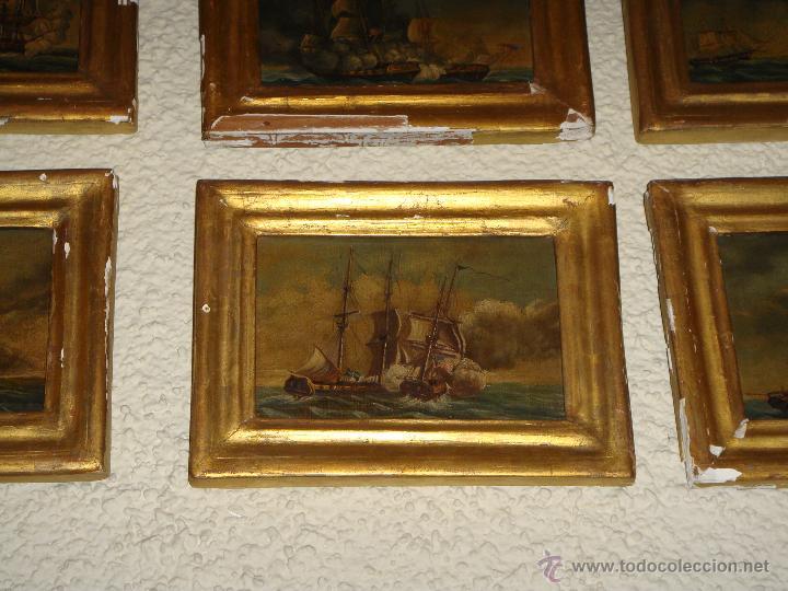 Arte: Magnificas 6 Marinas en Miniatura Antiguas. S.XIX. Batalla Naval. Oleo sobre caoba. - Foto 3 - 49200704