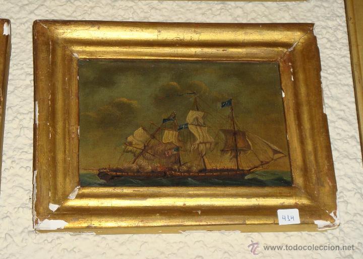 Arte: Magnificas 6 Marinas en Miniatura Antiguas. S.XIX. Batalla Naval. Oleo sobre caoba. - Foto 4 - 49200704