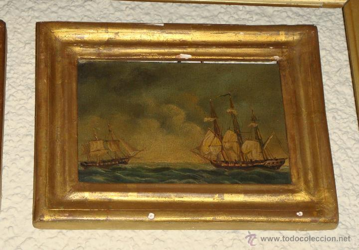 Arte: Magnificas 6 Marinas en Miniatura Antiguas. S.XIX. Batalla Naval. Oleo sobre caoba. - Foto 5 - 49200704