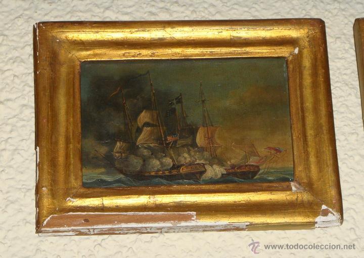 Arte: Magnificas 6 Marinas en Miniatura Antiguas. S.XIX. Batalla Naval. Oleo sobre caoba. - Foto 6 - 49200704