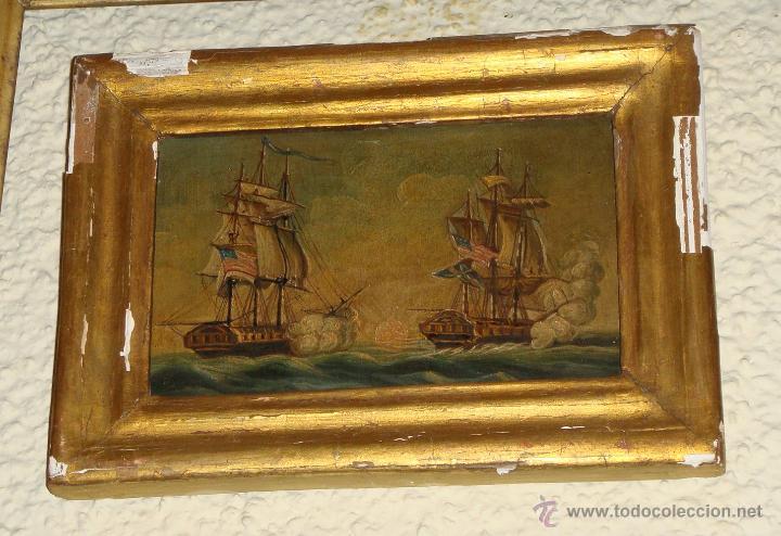 Arte: Magnificas 6 Marinas en Miniatura Antiguas. S.XIX. Batalla Naval. Oleo sobre caoba. - Foto 7 - 49200704