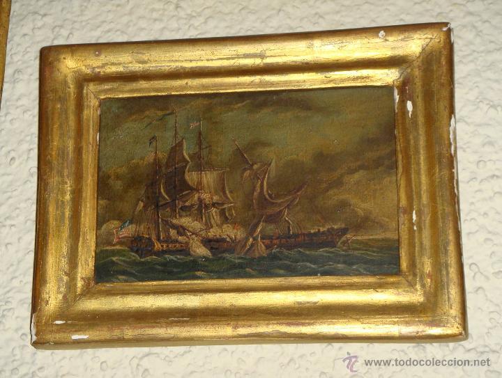 Arte: Magnificas 6 Marinas en Miniatura Antiguas. S.XIX. Batalla Naval. Oleo sobre caoba. - Foto 8 - 49200704