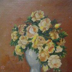 Arte: ANTIGUO OLEO SOBRE LIENSO JARRON CON FLORES, FIRMADO 27 X 21,5. Lote 49255041