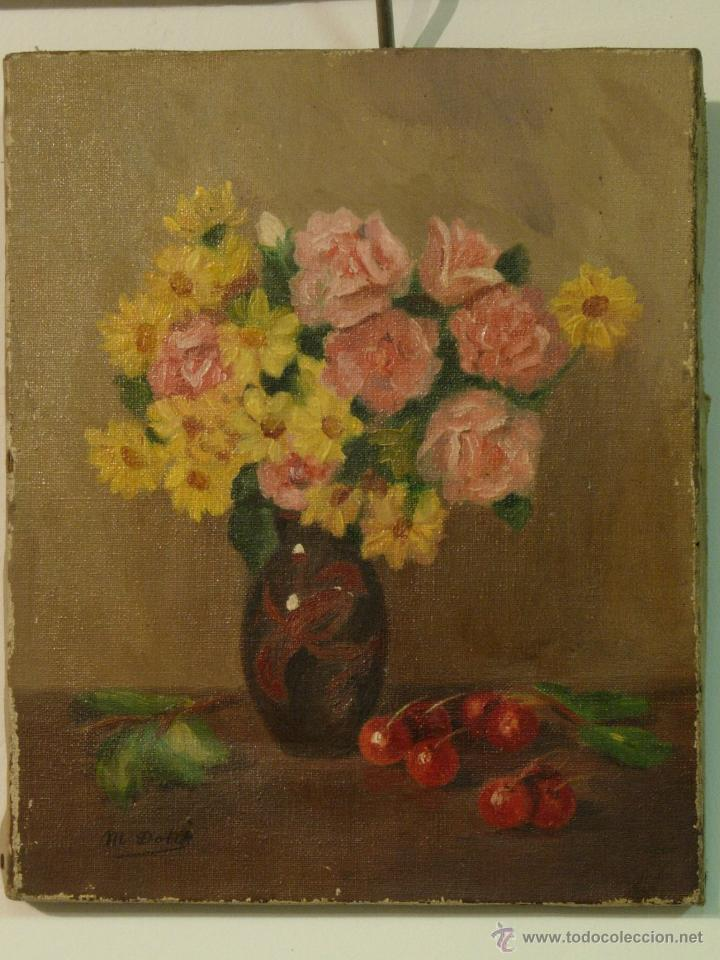 Pintura bodegon flores antigua oleo sobre lien comprar - Lienzo sobre bastidor ...