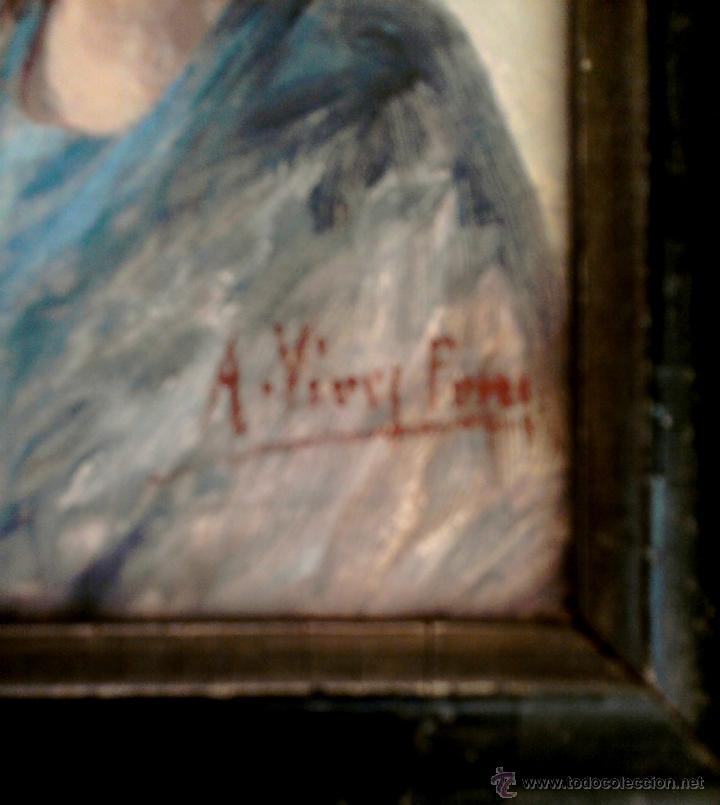 Arte: PINTURA CATALANA,OLEO SOBRE CARTON,RETRATO DE MUJER,FINALES SIGLO XIX FIRMADO A.VIVES ?MINIATURA. - Foto 3 - 49275025