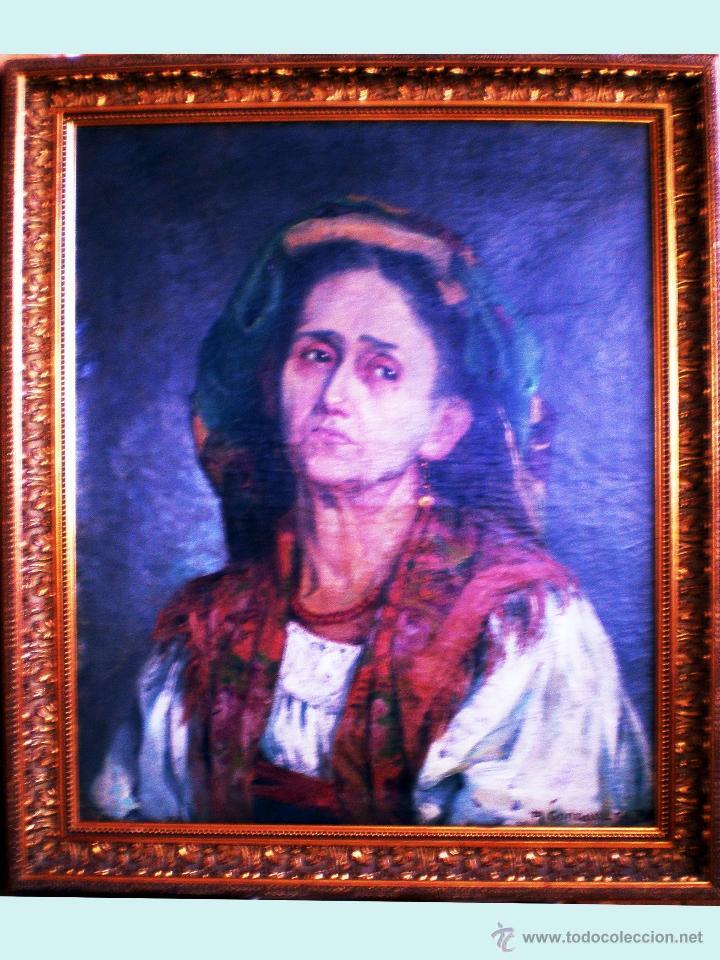 FINAL S. XIX.- RETRATO AL OLEO SOBRE LIENZO DEL PINTOR URUGUAYO A. GONZALEZ DE PLA. FIRMADO. 50 X 61 (Arte - Pintura - Pintura al Óleo Moderna siglo XIX)