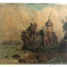 Arte: ANTIGUO E INTERESANTE OLEO ORIGINAL, ELEGANTE PINCELADA, PAISAJE CON CASTILLO MEDIEVAL. Lote 49443568