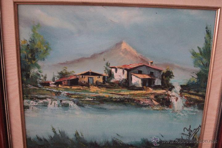 PAISAJE, OLEO SOBRE LIENZO, FIRMADO, ENMARCADO, 45X53CM -REF500- (Arte - Pintura - Pintura al Óleo Contemporánea )