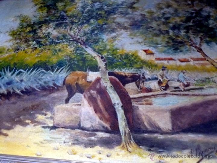 Arte: MARAVILLOSA PINTURA CUADRO AL OLEO COSTUMBRISTA FIRMADA Y FECHADA 1929 - Foto 2 - 49488535