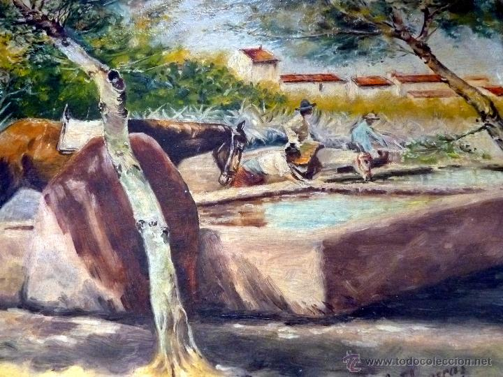 Arte: MARAVILLOSA PINTURA CUADRO AL OLEO COSTUMBRISTA FIRMADA Y FECHADA 1929 - Foto 5 - 49488535