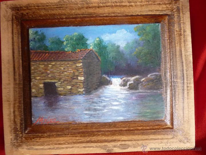 PRECIOSA PINTURA AL OLEO SOBRE TABLA BOSQUE Y RÍO FIRMADO (Arte - Pintura - Pintura al Óleo Moderna sin fecha definida)