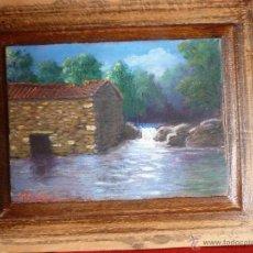 Arte: PRECIOSA PINTURA AL OLEO SOBRE TABLA BOSQUE Y RÍO FIRMADO. Lote 49488960