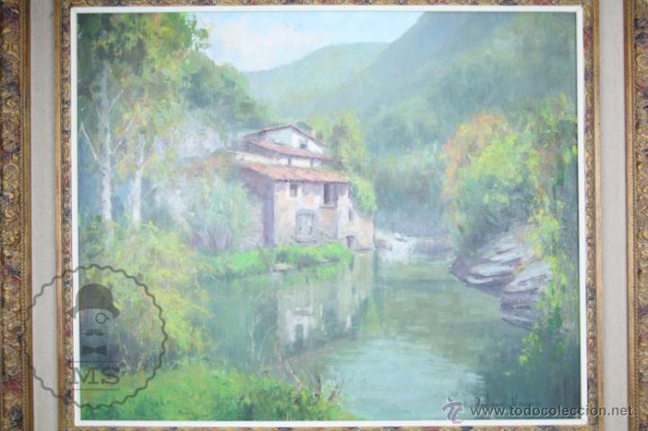 Arte: Pintura al Óleo Sobre Lienzo de Carbonell i Massabé. Molí del Solé, Rupit - Medidas 93 x 80 Cm - Foto 2 - 49495997