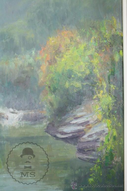 Arte: Pintura al Óleo Sobre Lienzo de Carbonell i Massabé. Molí del Solé, Rupit - Medidas 93 x 80 Cm - Foto 4 - 49495997