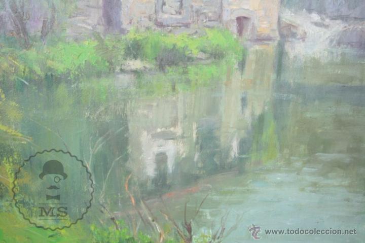 Arte: Pintura al Óleo Sobre Lienzo de Carbonell i Massabé. Molí del Solé, Rupit - Medidas 93 x 80 Cm - Foto 5 - 49495997