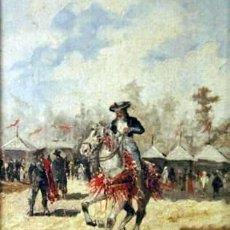 Arte: EUGENIO LUCAS VILLAAMIL (MADRID, 1858-1918) CABALLISTA Y PERSONAJES EN LA FERIA DE ABRIL DE SEVILLA. Lote 49559684