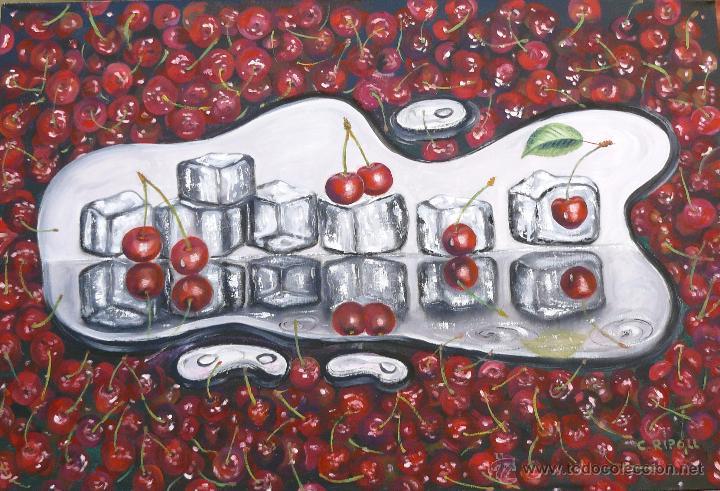 CEREZAS CON HIELO (Arte - Pintura - Pintura al Óleo Contemporánea )