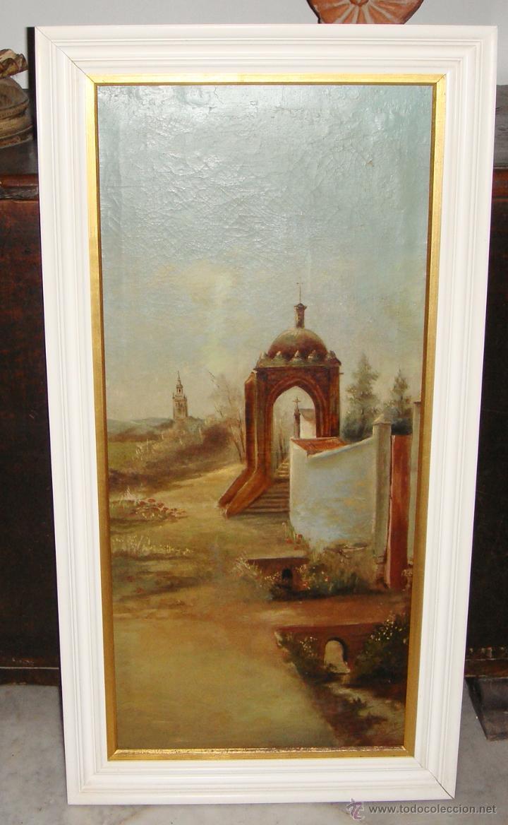 Arte: Oleo sobre Lienzo. S.XIX. Humilladero de la Cruz del Campo (CRUZCAMPO). Sevilla. Firmado. - Foto 2 - 49612018