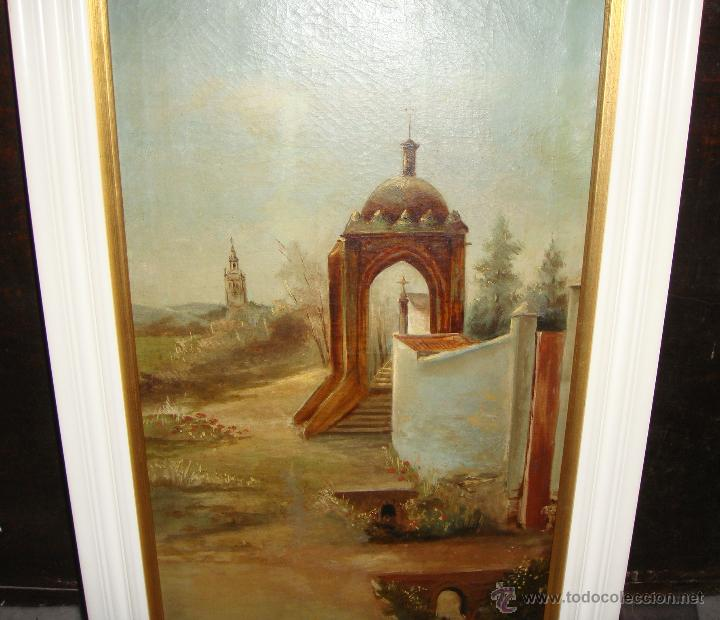 Arte: Oleo sobre Lienzo. S.XIX. Humilladero de la Cruz del Campo (CRUZCAMPO). Sevilla. Firmado. - Foto 3 - 49612018
