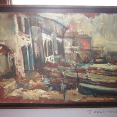 Arte: OLEO SOBRE TABLA DE CALELLA DE PALAFRUGELL FIRMADO G . SERRA. Lote 49630573