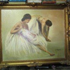 Arte: BAILARINAS DE BALET POR ANTONIO PEREZ TARRASO OLEO SOBRE LIENZO . Lote 49735843