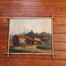 Arte: OLEO SOBRE TABLERO CASAS. Lote 49773202