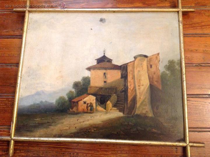 OLEO SOBRE TABLERO CASAS (Arte - Pintura - Pintura al Óleo Antigua sin fecha definida)