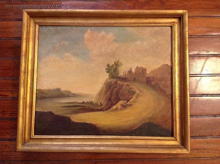 OLEO SOBRE LIENZO CASA CON CAMINO (Arte - Pintura - Pintura al Óleo Antigua sin fecha definida)