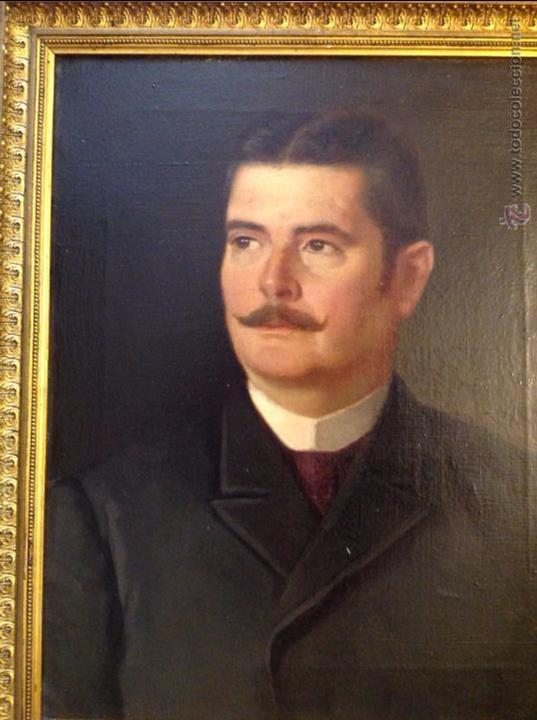 Arte: Oleo sobre lienzo retrato de caballero señor - Foto 2 - 49773405