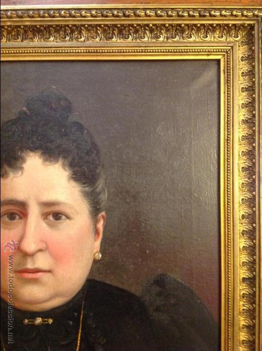 Arte: Oleo sobre lienzo retrato de señora - Foto 2 - 49773452