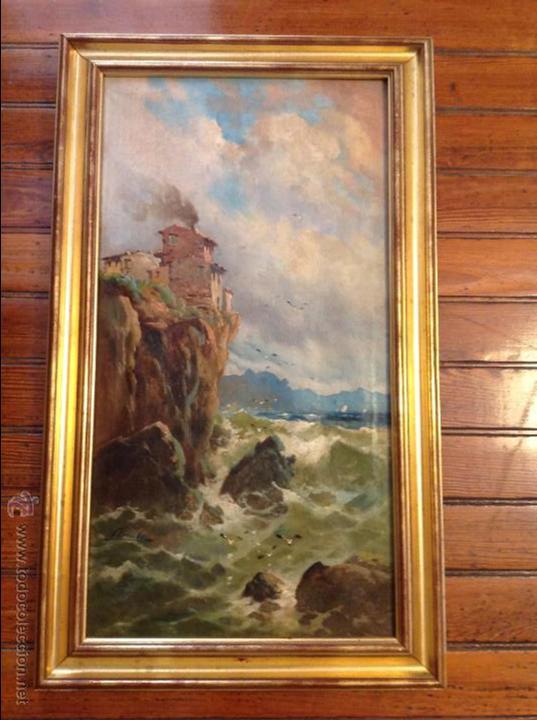 OLEO SOBRE LIENZO ALCANTILADO CON CASA (Arte - Pintura - Pintura al Óleo Moderna siglo XIX)