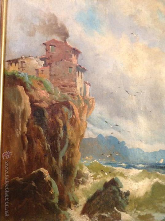 Arte: Oleo sobre lienzo alcantilado con casa - Foto 2 - 49773622