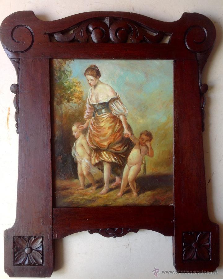 antigua pintura , oleo sobre tabla enmarcada ma - Comprar Pintura al ...