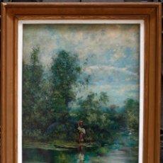 Arte: JOSEP ARMET (1843-1911) ÓLEO SOBRE TELA, 40X57CM. MARCO Y CRISTAL: 70X53 CM.. Lote 49784130