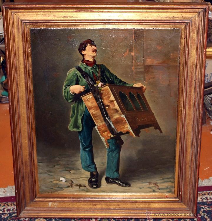 AD. WÜRTZ (ACTIVO EN EL ÁREA GERMÁNICA A FINALES DEL SIGLO XIX) OLEO LIENZO. MUSICO AMBULANTE (Arte - Pintura - Pintura al Óleo Moderna siglo XIX)