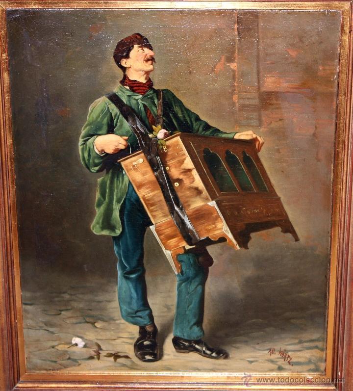 Arte: AD. WÜRTZ (Activo en el área germánica a finales del siglo XIX) OLEO LIENZO. MUSICO AMBULANTE - Foto 3 - 49860540