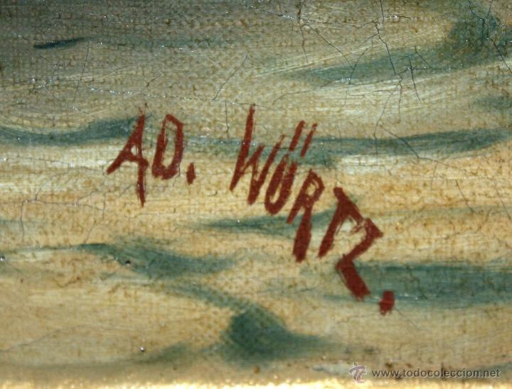 Arte: AD. WÜRTZ (Activo en el área germánica a finales del siglo XIX) OLEO LIENZO. MUSICO AMBULANTE - Foto 7 - 49860540