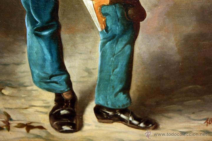 Arte: AD. WÜRTZ (Activo en el área germánica a finales del siglo XIX) OLEO LIENZO. MUSICO AMBULANTE - Foto 8 - 49860540