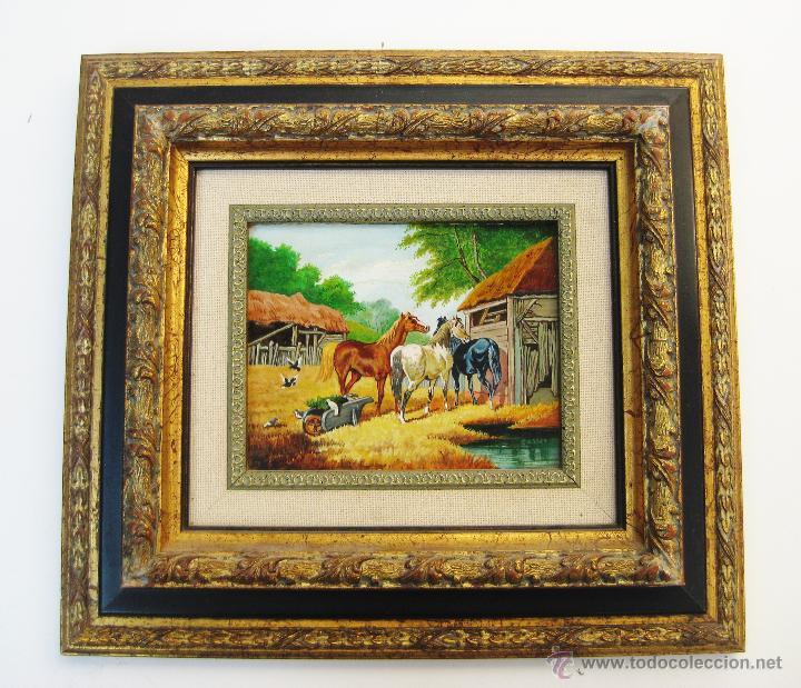 PRECIOSO CUADRO OLEO SOBRE TABLA CABALLOS CON ELEGANTE MARCO MADERA FIRMADO (Arte - Pintura - Pintura al Óleo Contemporánea )