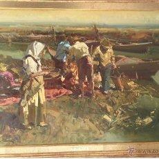 Arte: EUSTAQUIO SEGRELLES. LIENZO 90X60. CERTIFICADO. CANAL DE LA ALBUFERA.. Lote 49660391