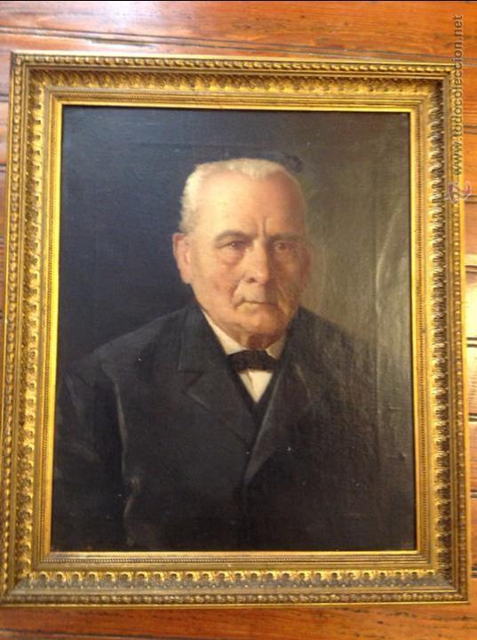 OLEO SOBRE LIENZO RETRATO DE CABALLERO SEÑOR (Arte - Pintura - Pintura al Óleo Moderna siglo XIX)