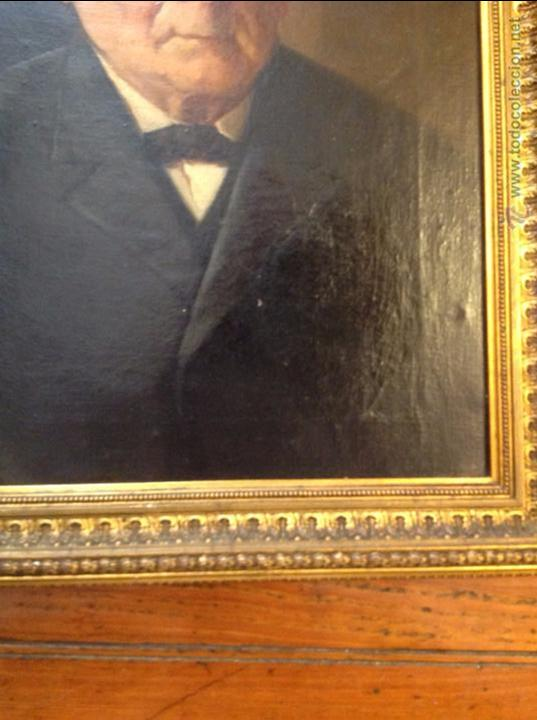 Arte: Oleo sobre lienzo retrato de caballero señor - Foto 4 - 49920399